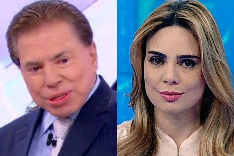 Silvio Santos, do SBT e Rachel Sheherazade - Reprodução: SBT (Montagem: Área VIP)