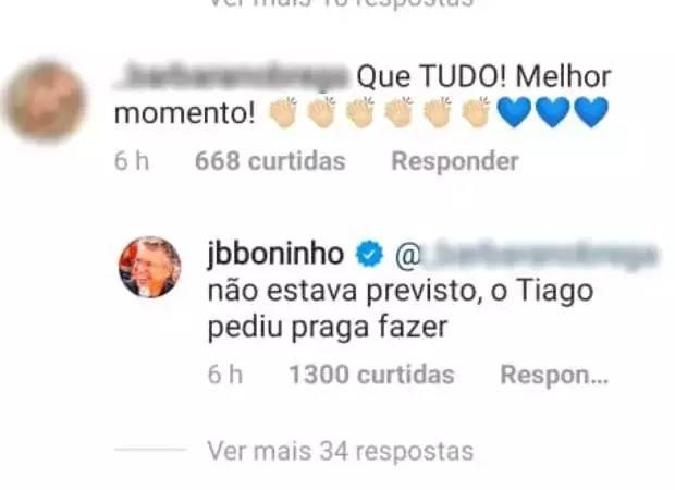 Após Tiago Leifert quebrar protocolos e falar com Lucas Penteado, Boninho diz: ''Bom ver um sorriso'' - Foto: Reprodução/Instagram