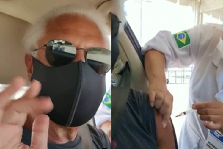 Antônio Fagundes registar momento em que é vacinado contra Covid-19