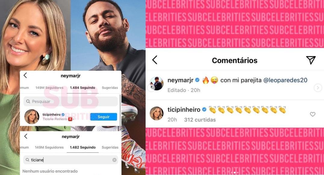 Imagem: O jogador de futebol Neymar Jr. deixou de seguir a apresentadora Ticiane Pinheiro no Instagram recentemente (Reprodução/Instagram)